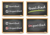 Blackboard qualified unqualified set — Stock Vector