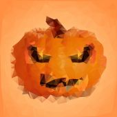 Polygonal halloween pumpkin — Stock Vector