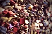 Red love padlock — Stock Photo