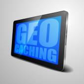 Tablet Geo Caching — Vetor de Stock