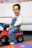 Cute boy dressed as a construction worker — Stock Photo