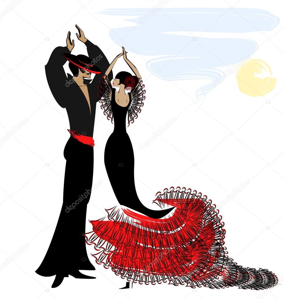 image of couple flamenco stock vector  u00a9 dankalilly spanish clip art book spanish clip art book