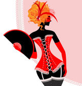 Red lady in corset with fan — Stock Vector