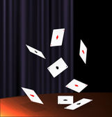 Table and flying cards — Vetor de Stock