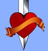 Heart and khife — Stock Vector