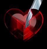 Broken heart-crystal and blade — Stock Vector