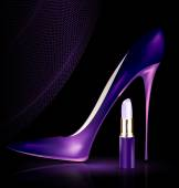 Shoe and lipstick in purple — Stock Vector