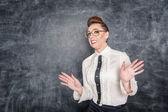 Scared teacher in the eyeglasses  — Stock Photo