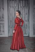 Beautiful woman in red medieval dress  — Foto Stock