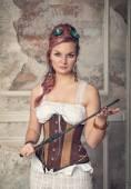 Krásný steampunk žena s bičem — Stock fotografie