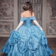 Beautiful medieval woman in blue dress, back — Stock Photo #53461805