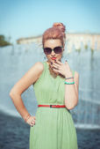 Beautiful woman in vintage clothing  — Stock Photo