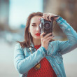 Hipster girl with retro camera — Stock Photo #54501967