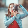 Hipster girl with retro camera — Stock Photo #54501995