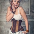 Beautiful steampunk woman surprised — 图库照片 #54725527