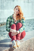 Hipster redhead girl — Stock Photo