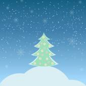 Vector illustration of winter landscape with fir-tree — Wektor stockowy