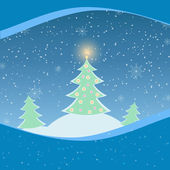 Vector illustration of winter landscape with fir-tree — Vector de stock