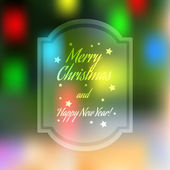 Christmas blurred greeting card with bokeh on background — Stockvector