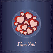 Valentine day card with red hearts — Stock Vector