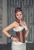 Beautiful steampunk woman with pink hair — Stok fotoğraf