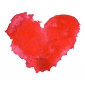 水彩漆成红色的心 — 图库矢量图片