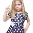 Strict beautiful little girl with blond hair isolated  — Stock Photo #64083007