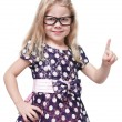 Strict beautiful little girl in glasses showing finger isolated — Stock Photo #64235605