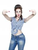 Beautiful woman in retro pin-up style showing middle fingers iso — Stock Photo