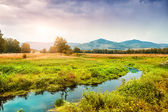 Beautiful autumn landscape in the mountains at sunset — Stock Photo