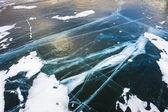 Natural ice on the lake — Zdjęcie stockowe