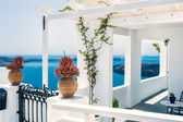 Greek house with terrace and sea view — Stock Photo