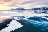 Fantastic winter landscape with frozen lake — Stock Photo