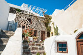 National Greek architecture, terrace with flowers — Stock Photo