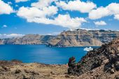 View from volcano of the Santorini island, Greece — Stock Photo