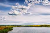 View of the river and blue sky with clouds — Stock Photo