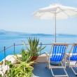 Deck chairs on the terrace with sea view — Stock Photo #76671607