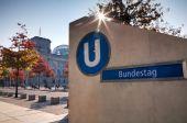 Bundestag underground sign — Stockfoto