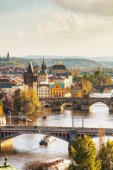 Overview of old Prague with Charles bridge — Stock Photo