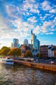 Frankfurt cityscape at sunset — Stock Photo