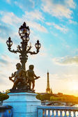 Lamppost at the Alexander III bridge in Paris — Stock Photo