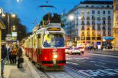 Old fashioned tram in Vienna, Austria — Stock Photo