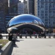Slow Zoom to the Cloud Gate sculpture in Millenium park — Stock Video #61617119