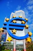 Euro sign in front of the European Central Bank building — Stock Photo