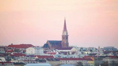 Vista aérea de Viena à noite — Vídeo stock