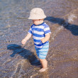 Cute little baby boy exploring the beach — Stock Photo #76288413