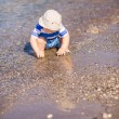 Cute little baby boy exploring the beach — Stock Photo #76288471