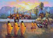 Original oil painting on canvas - culture Thai monk ask for alms — Stock Photo