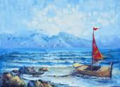Original oil painting on canvas - sailing in the ocean — Foto de Stock