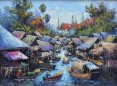Original oil painting on canvas - waterside life — Stock Photo